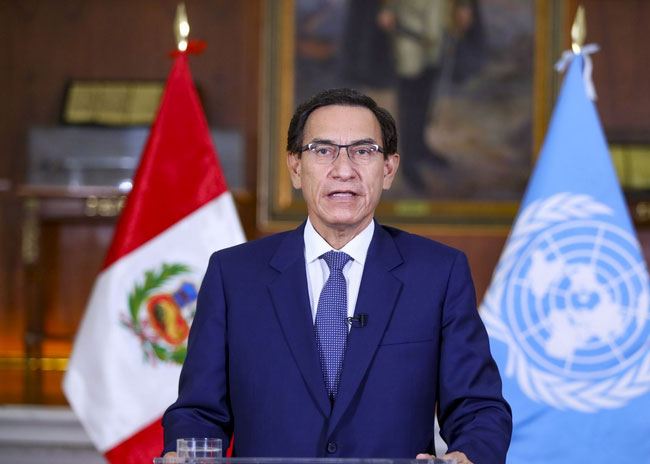 Peruvian President Martin Vizcarra addresses UN General Assembly